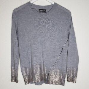 Michael Stars Gray Gold Zipper Sweater